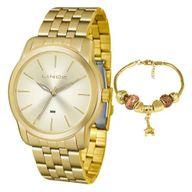 Relógio Lince Kit Presente LRG4551L + Pulseira Folheada Sortida