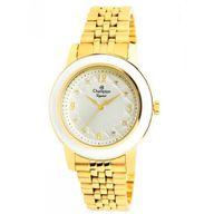 Relógio Champion Analógico Crystal Dourado Fundo Branco