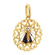 Pingente Gold Finger N.S. Aparecida Mandala Corações