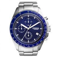 Relógio Fossil Analógico Prateado Fundo Azul