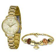Relógio Lince Kit Presente LRGH120L  + Pulseira Folheada Sortida